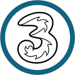 Logo for Three, one of the Mobile Top-Up Networks for Mobile Top-Up & International Calling Card Solutions avaiable from 3R Telecom